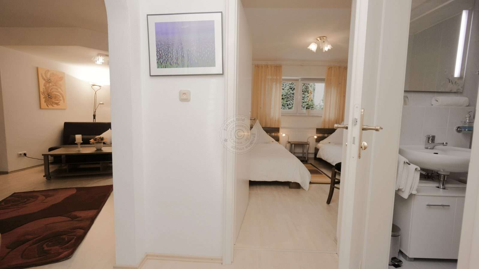 Small hallway in the apartment leads to the living room, bedroom and bathroom