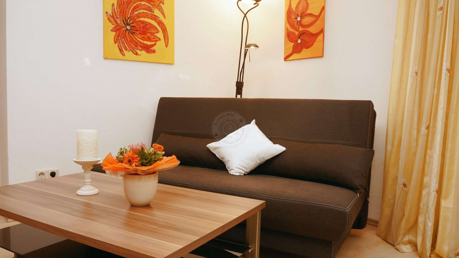 Sofa with coffee table in the living room